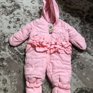 NWT baby girl ruffle snow winter suit outfit